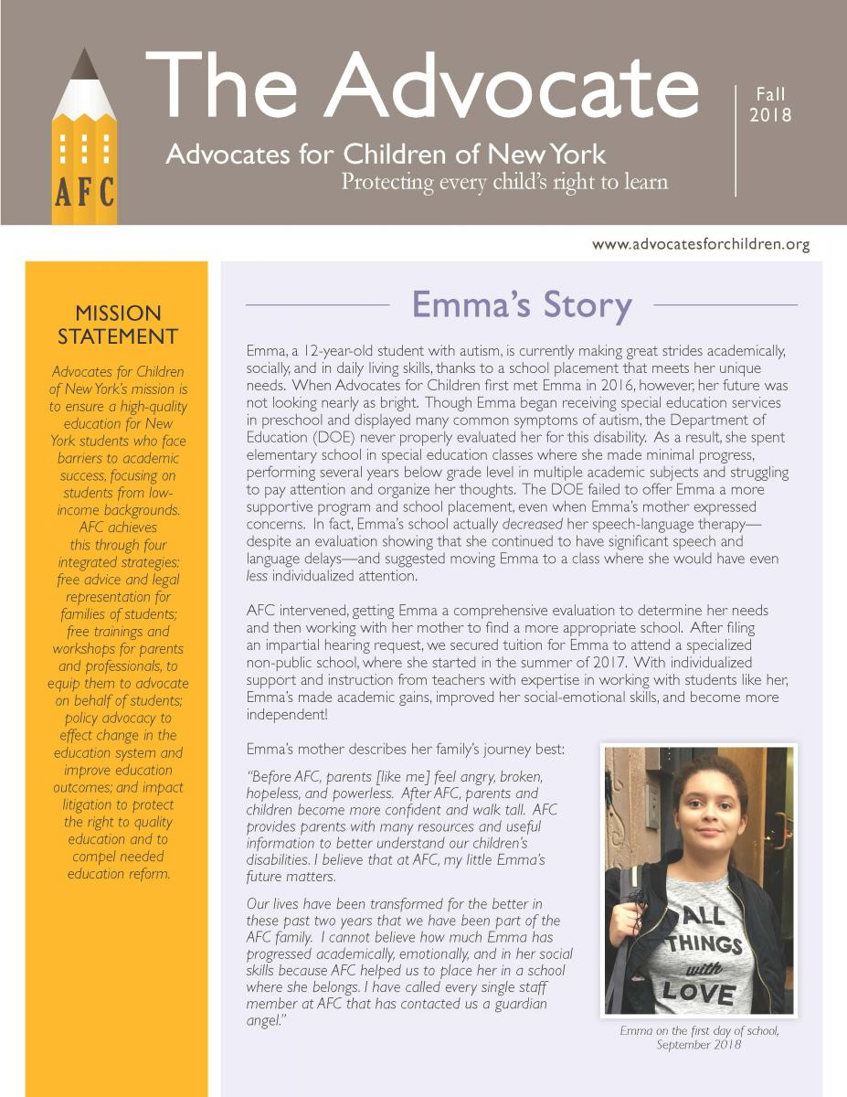 first page of newsletter