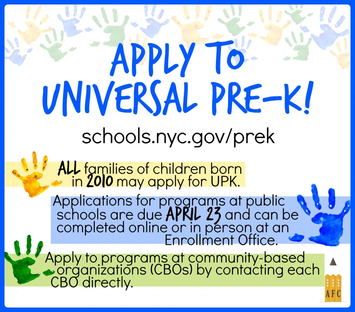 Advocates For Children Of New York Apply To Universal Pre K
