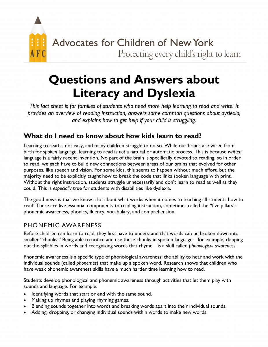 first page of literacy q&a fact sheet